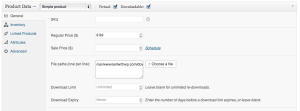 Sell with WordPress WooCommerce Secure Downloads Edit Product Page
