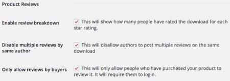 Easy Digital Downloads Product Reviews Settings