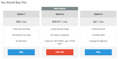 Create Pricing Tables with WordPress