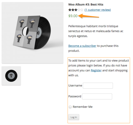 WooCommerce Catalog Visibility Options logged in customer