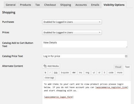 WooCommerce Catalog Visibility Options settings