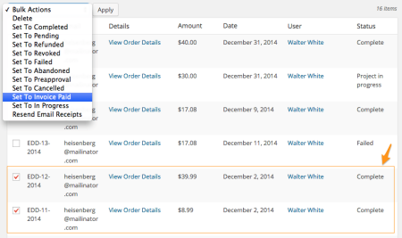 Easy Digital Downloads custom payment status: bulk action 1