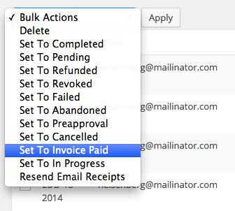 Easy Digital Downloads custom payment status: new bulk action
