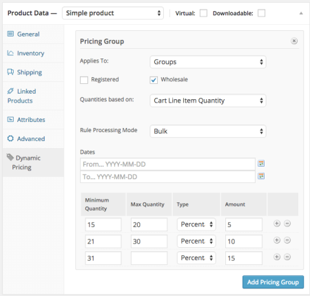 WooCommerce product wholesale pricing