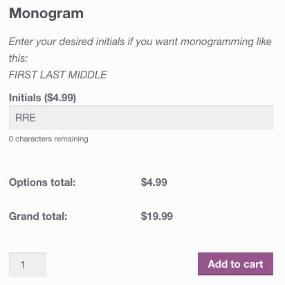 WooCommerce product add-ons display