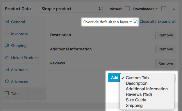 Add WooCommerce size guide tab to product