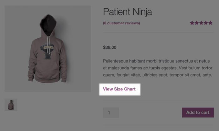 WooCommerce size guide link