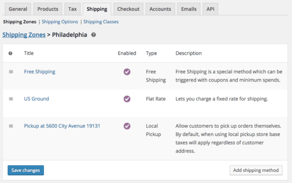 WooCommerce Shipping Zones: methods