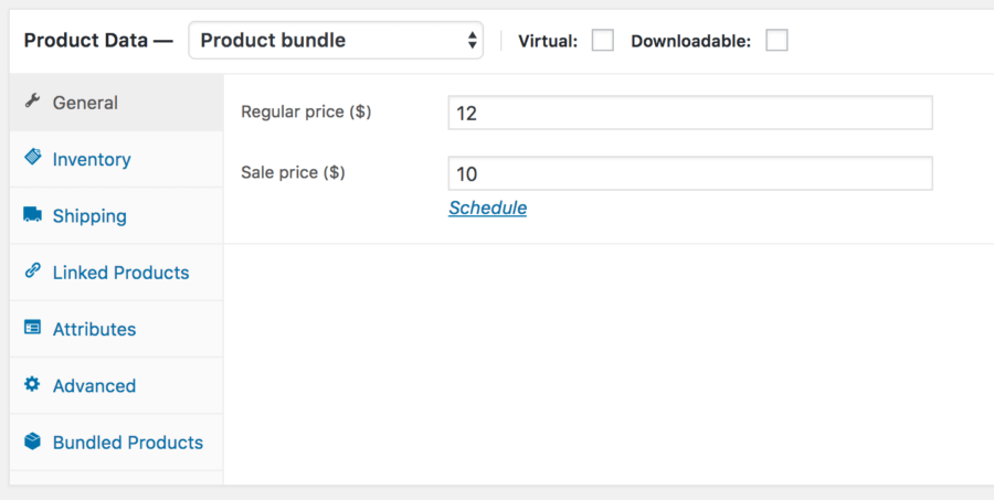 WooCommerce Product Bundles: Create Bundle