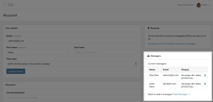Jilt: manage store managers