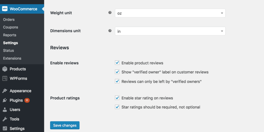 WooCommerce review settings