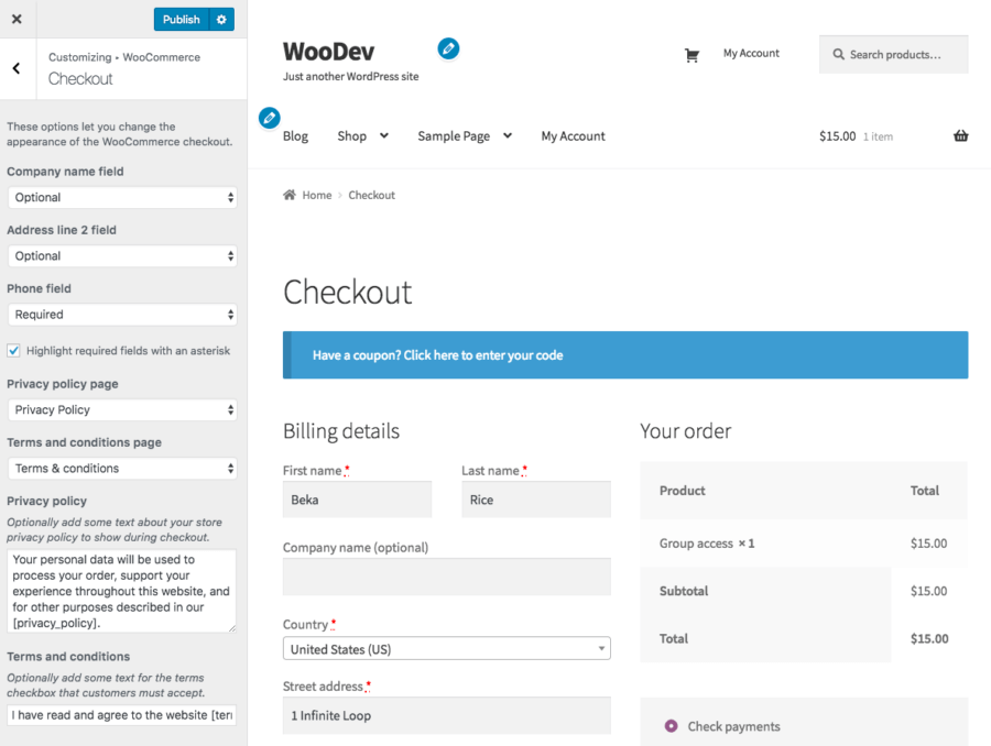 WooCommerce Checkout options