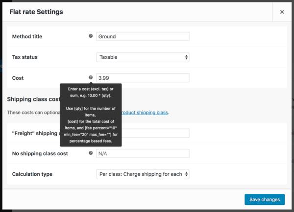 WooCommerce Flat Rate shipping settings