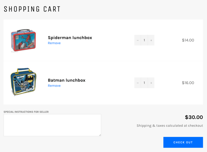 Shopify default cart view