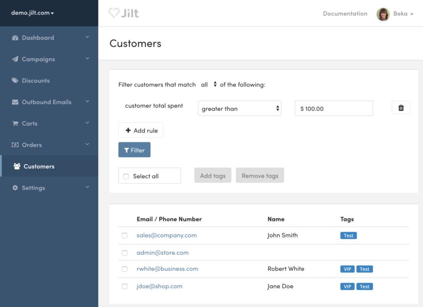 Jilt: filter customers