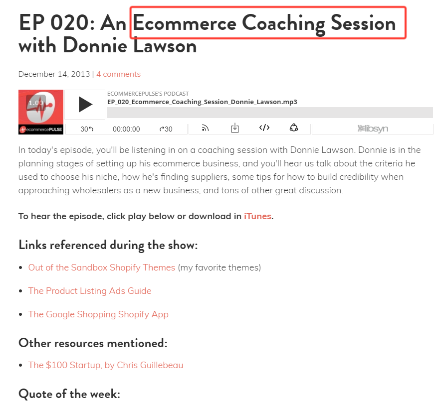 eCommerce podcasts