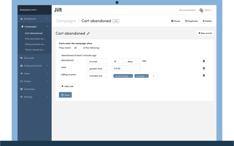 Jilt - eCommerce email marketing for WooCommerce, Shopify, and EDD