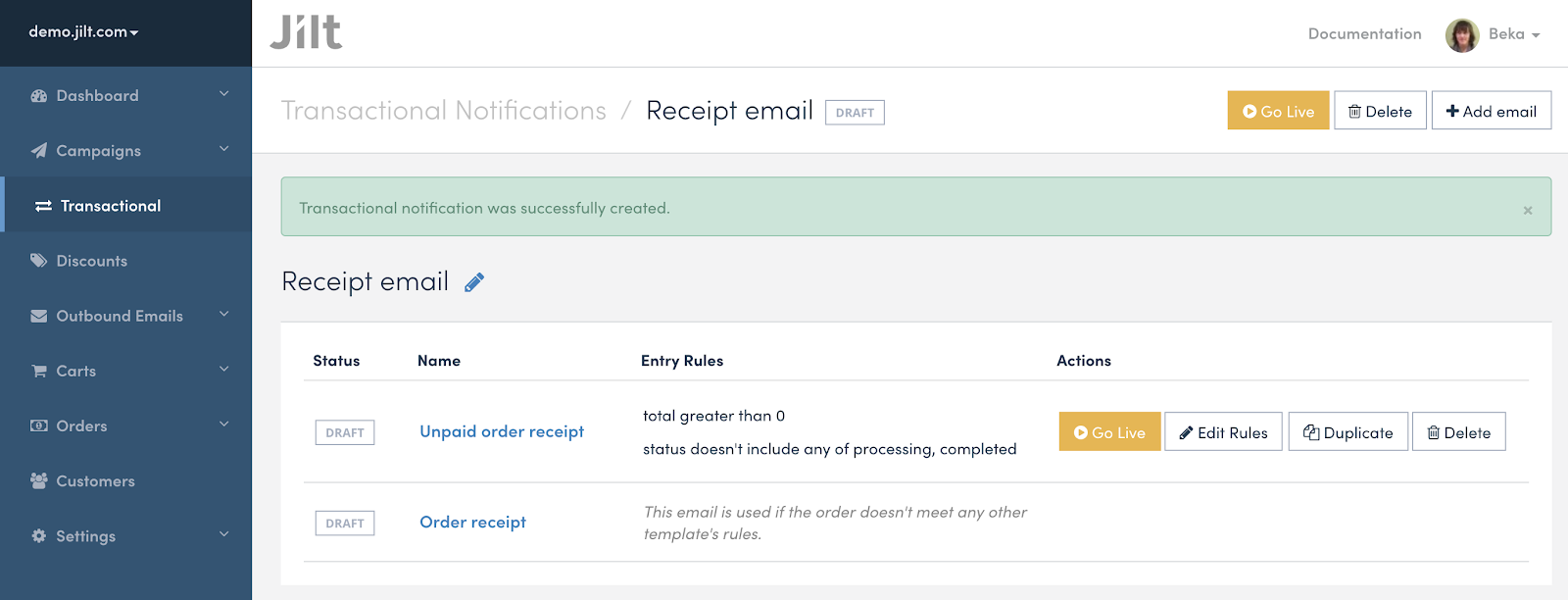 Order receipts, email editor improvements, better data