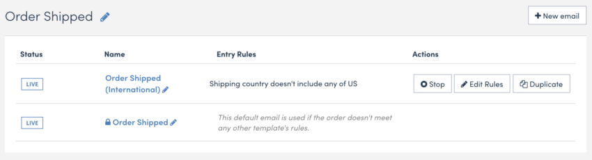 Screenshot of a list of order shipping confirmation emails
