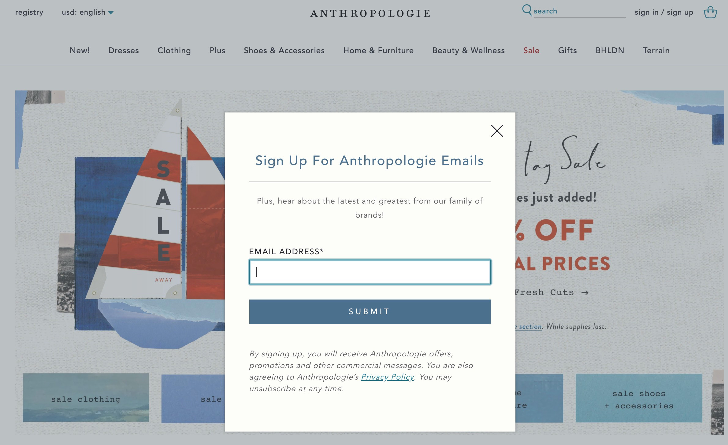 Anthropologie's email signup form makes it clear to the subscriber what to expect.