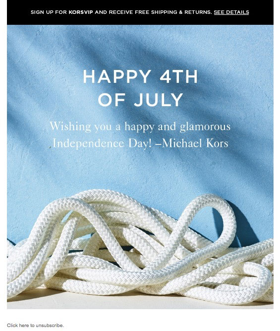 Michael Kors features just a picture of a sailing rope in their Fourth of July email marketing.