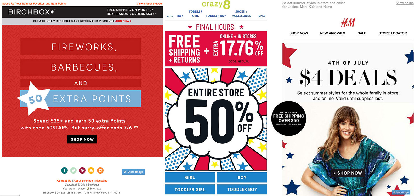 Fourth of July discounts of 50, 1776, and 4.