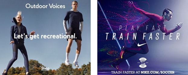 48dacd38e6f7ec Outdoor Voices ads (left) differ in message than those from Nike. Ads via  Moat.