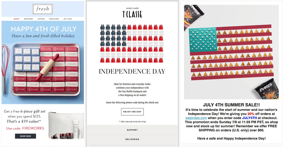 Three companies turn their products into American flags.