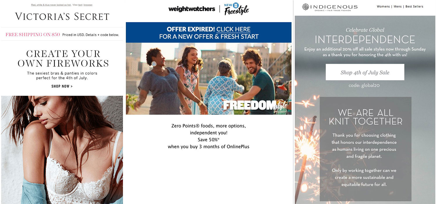 Fourth of July email marketing that uses wordplay.