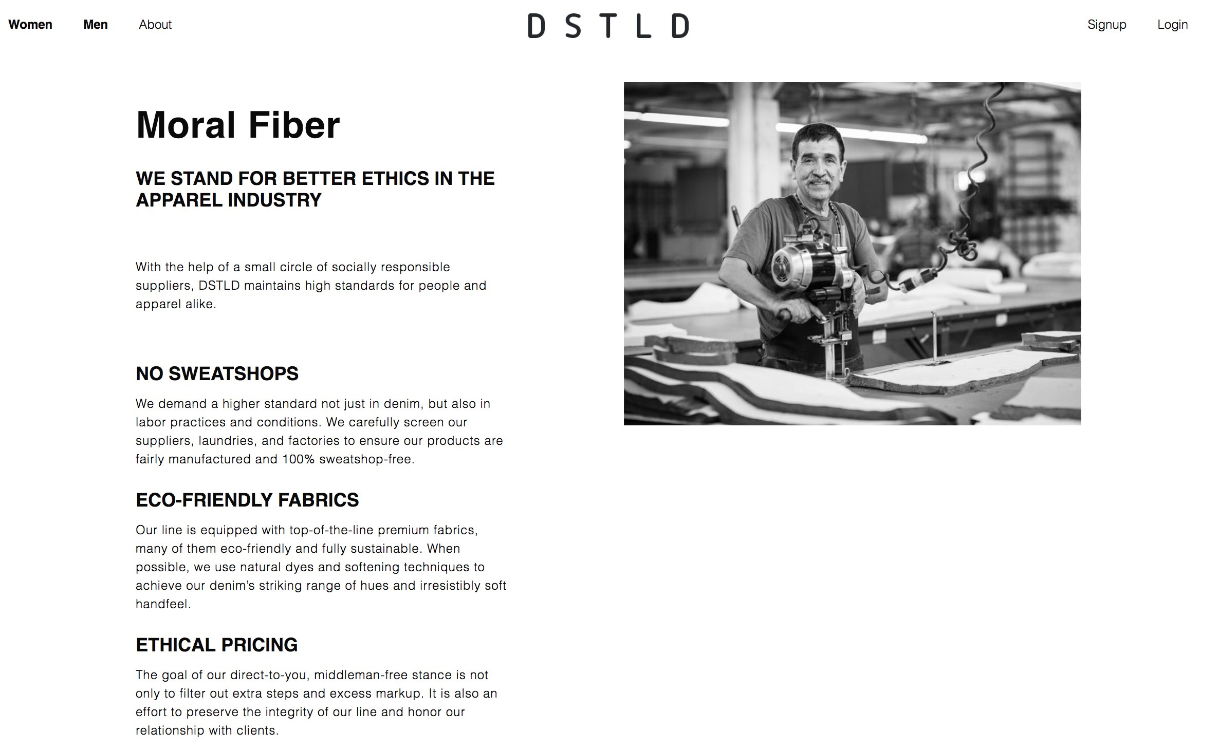 DSTLD's website features a mission statement of values and quality.