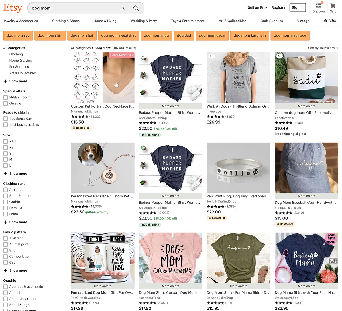 Etsy's competition.
