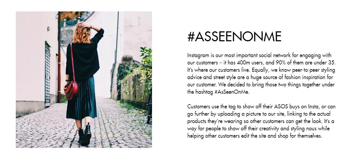 ASOS uses a hashtag.