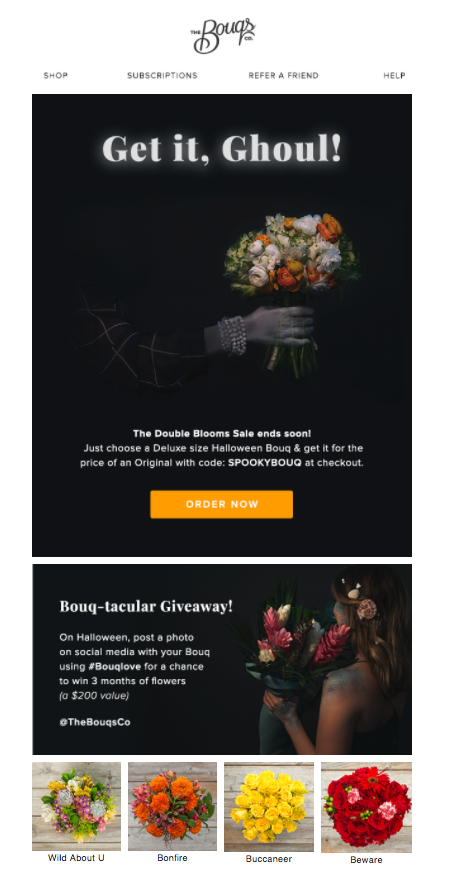 Bouqs Halloween email.