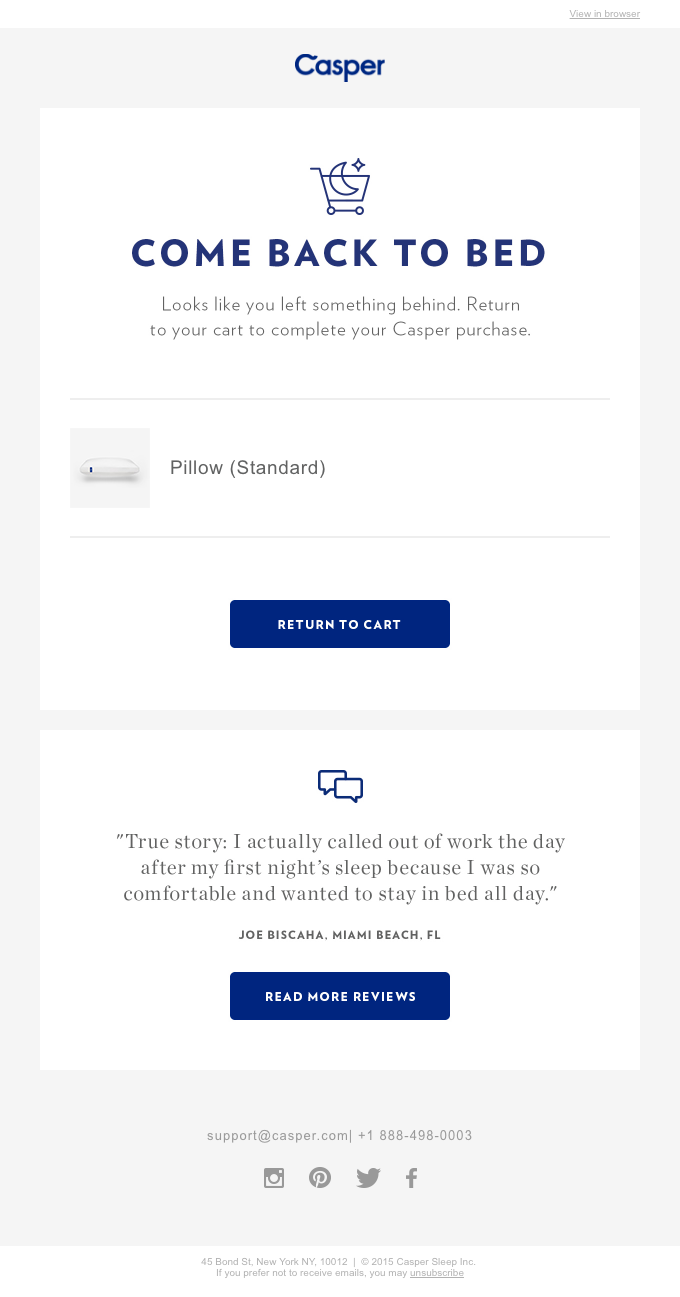 Casper uses testimonials in their abandoned cart emails.