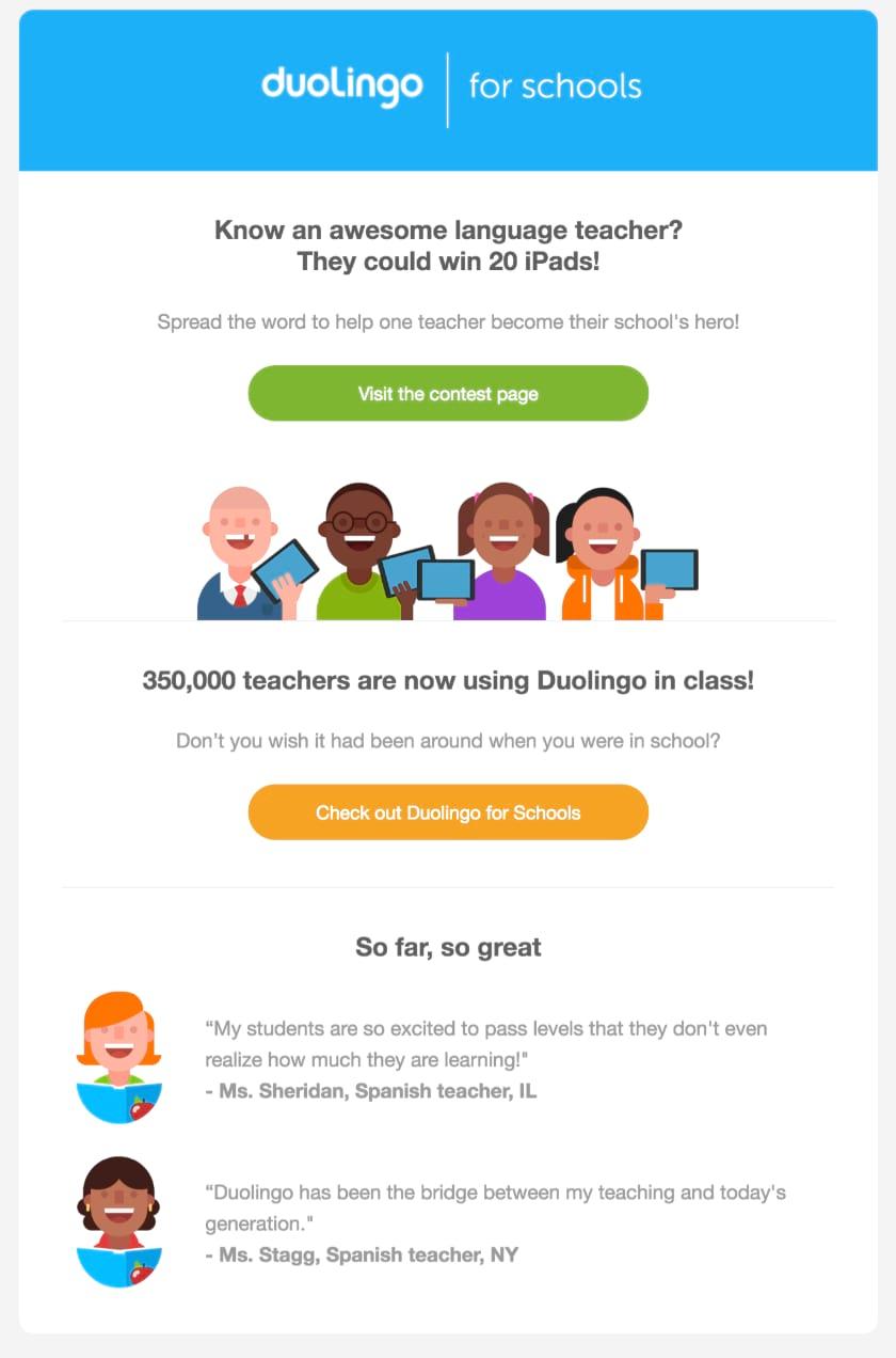 Duolingo's social proof.