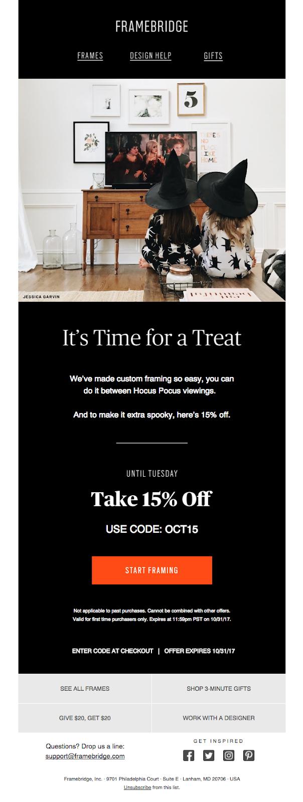Framebridge Halloween email.