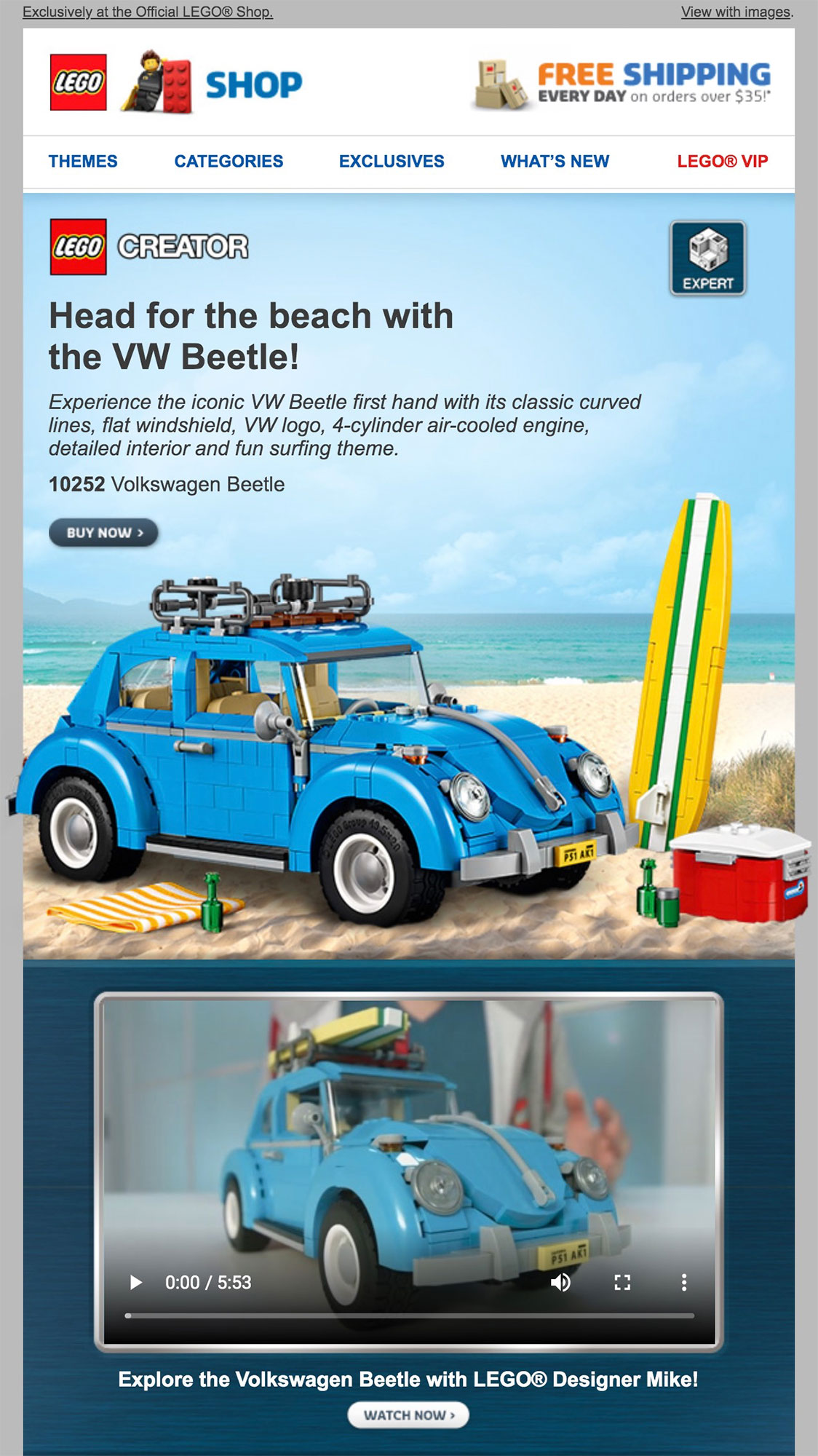 Lego uses video in an email.