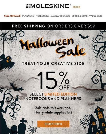 Moleskine Halloween email.