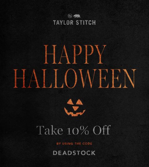 Taylor Stitch Halloween email.