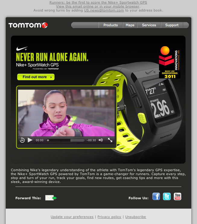 TomTom and Nike pair video with other elements.