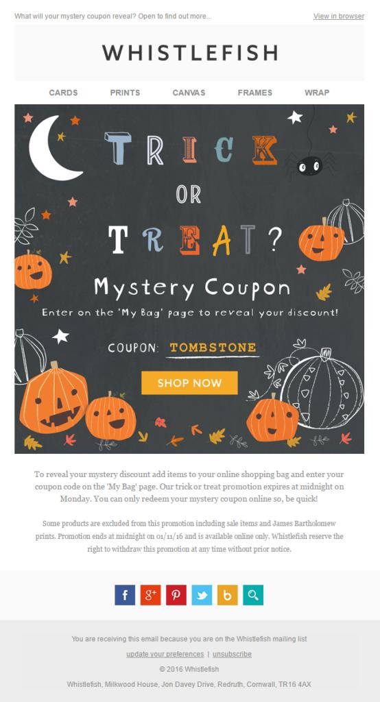 Whistlefish Halloween email