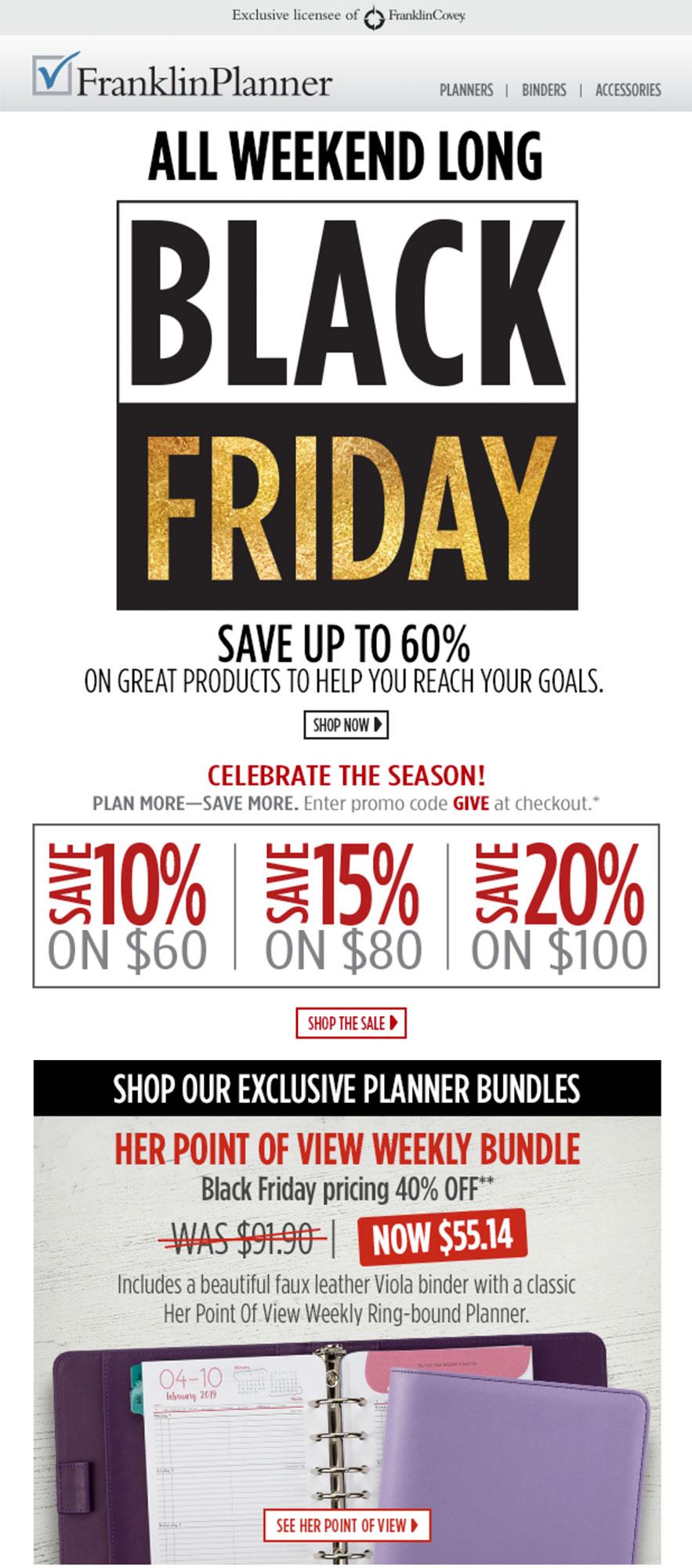 FranklinPlanner's all weekend long BFCM sale.