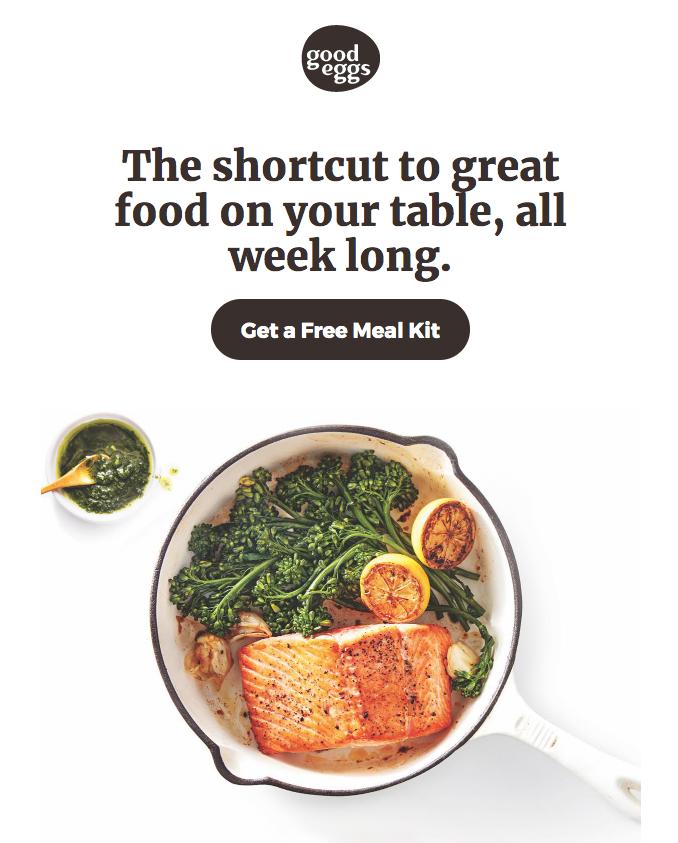 Good Eggs' free meal kit offer.