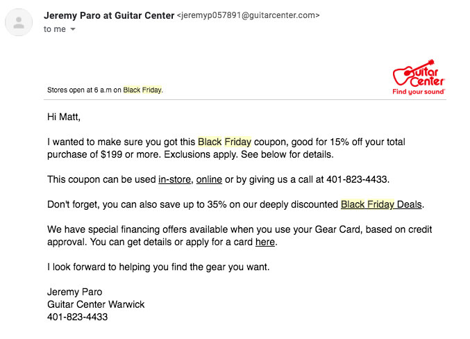 Guitar Center's personalized BFCM email.