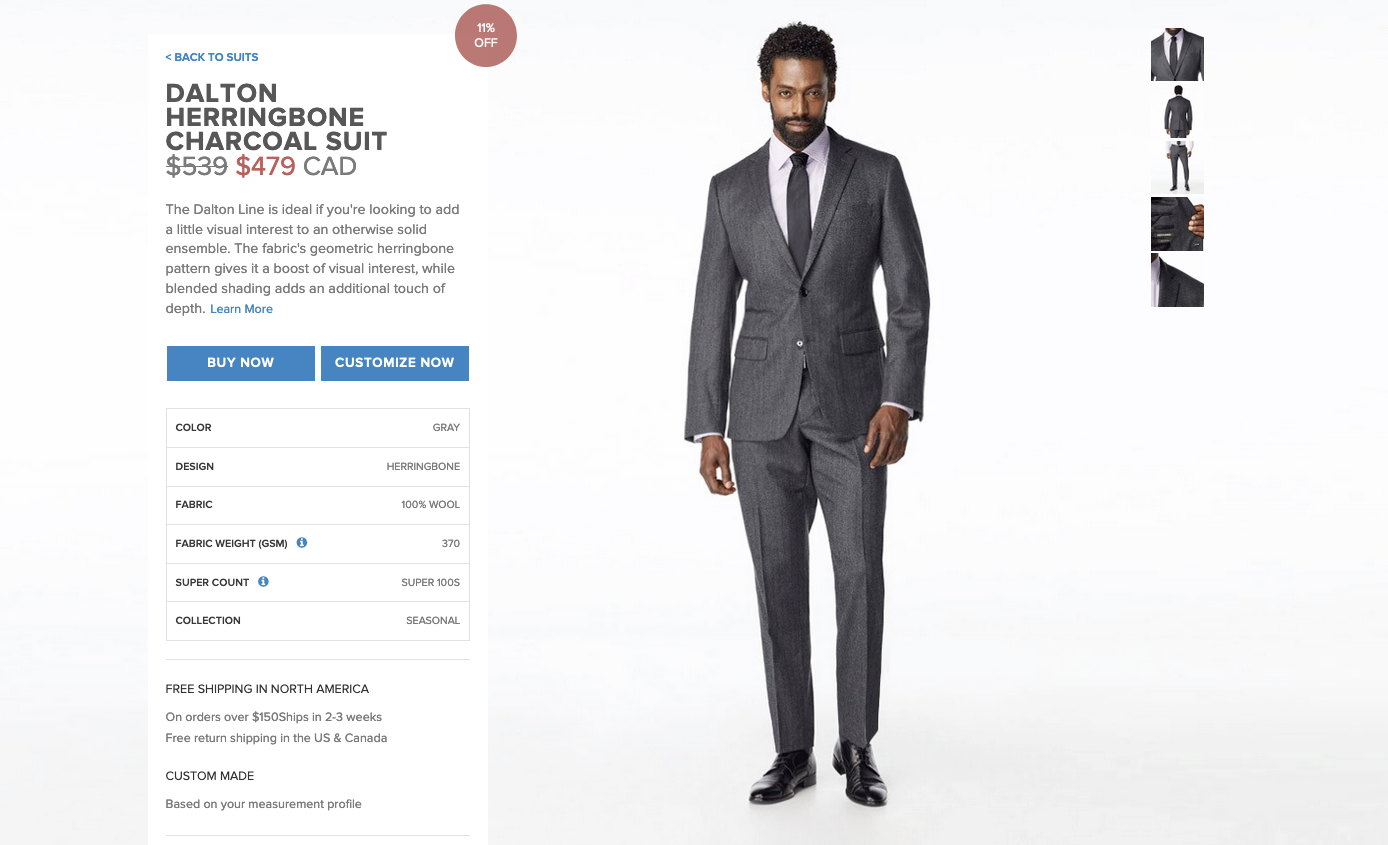 Indochino's customization feature builds commitment.