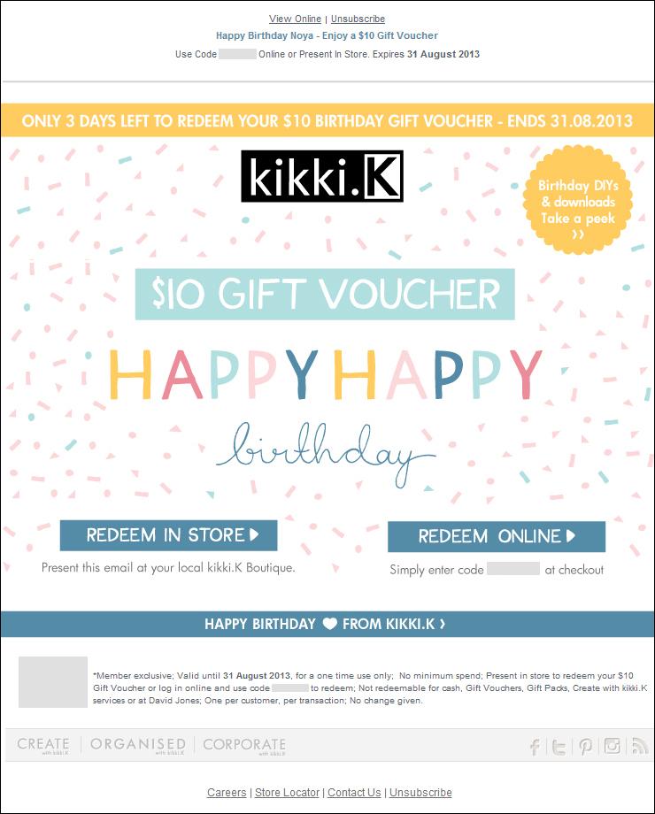 Kikki K's birthday voucher.