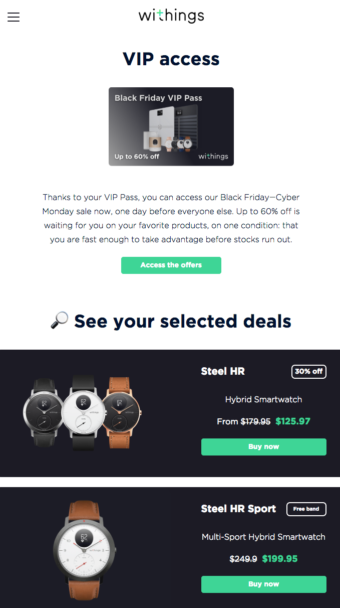 Withings offers a good VIP perk.