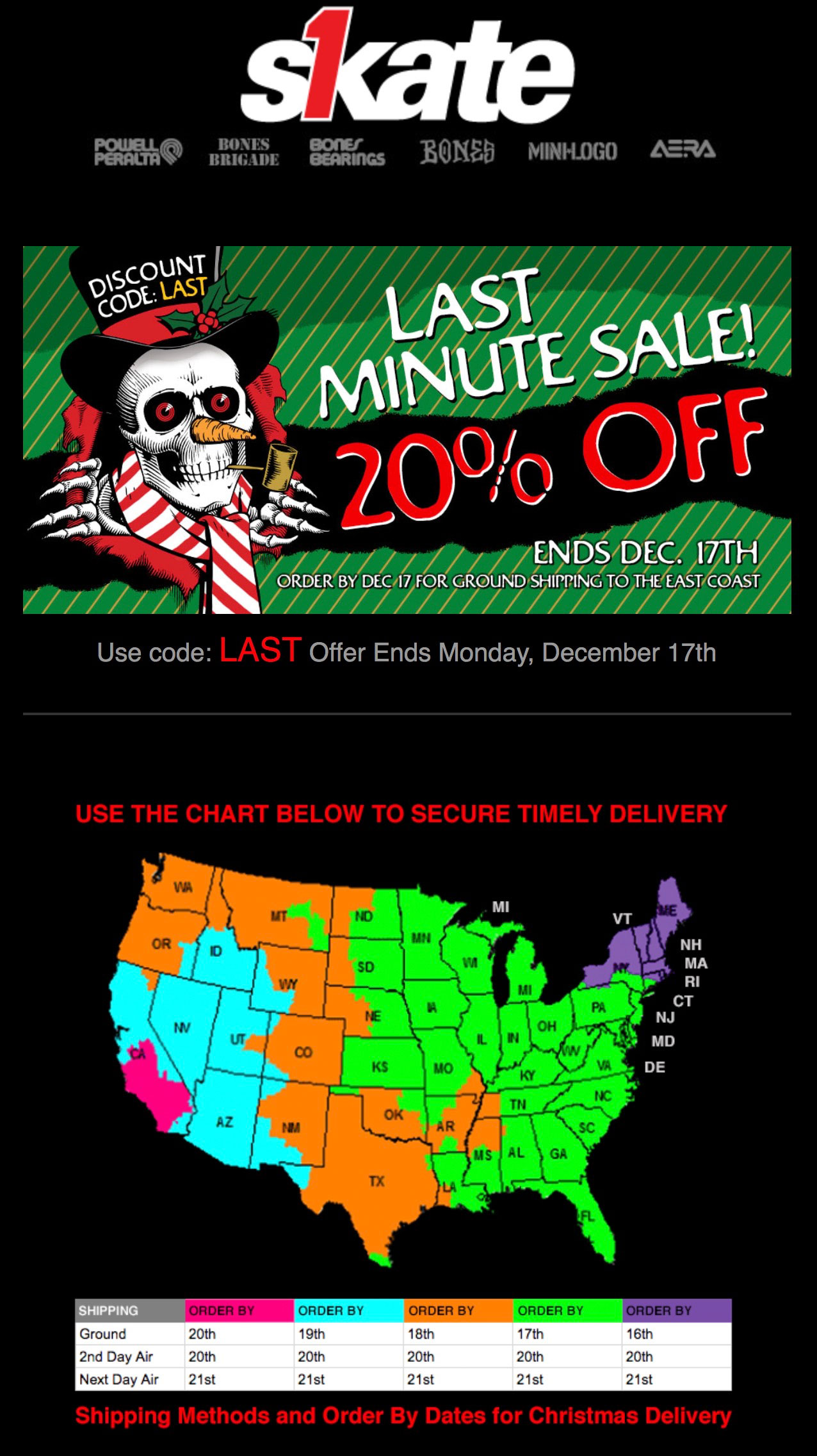Skate1 gives a map to show holiday shipping deadlines.