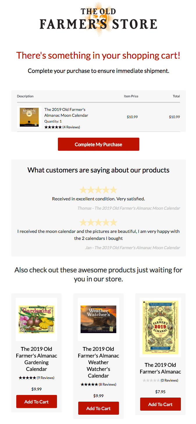 The Old Farmer's Store recommends products in its cart abandonment emails.