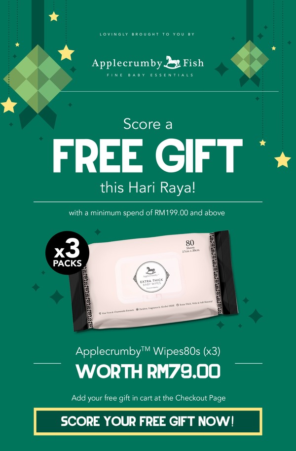 Applecrumby & Fish prominently offers a free gift.